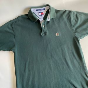 TOMMY HILFIGER FOREST GREEN POLO SHIRT MEN SIZE M